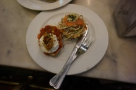 Traditional pintxos at Café Iruña, centrally located on 4 Berastegui Kalea. The place has a very local feel.