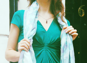 green dress and necklace