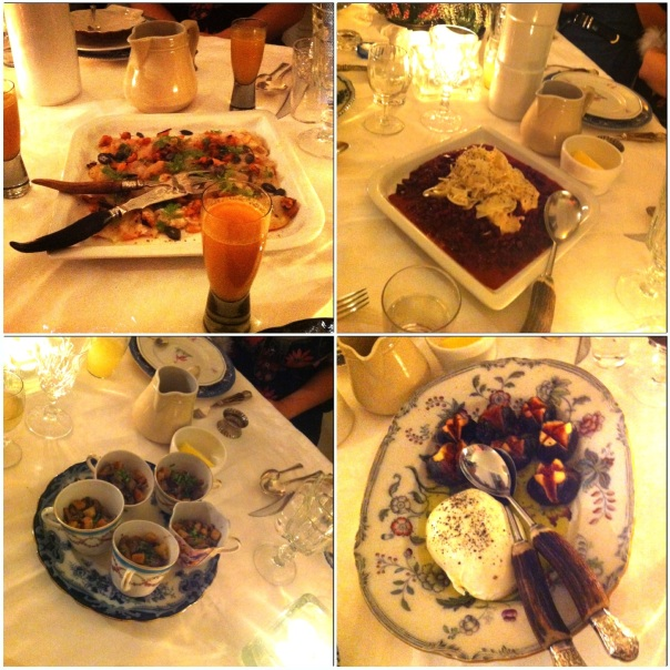 These are some of the many delicious dishes we were served at the New Friends Table