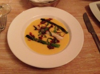 Butternut squash soup at gorgeous Novecento in Polanco, Mexico City