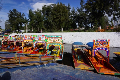 Taking a boat (trajinera) ride in Xochimilco in the South of Mexico City