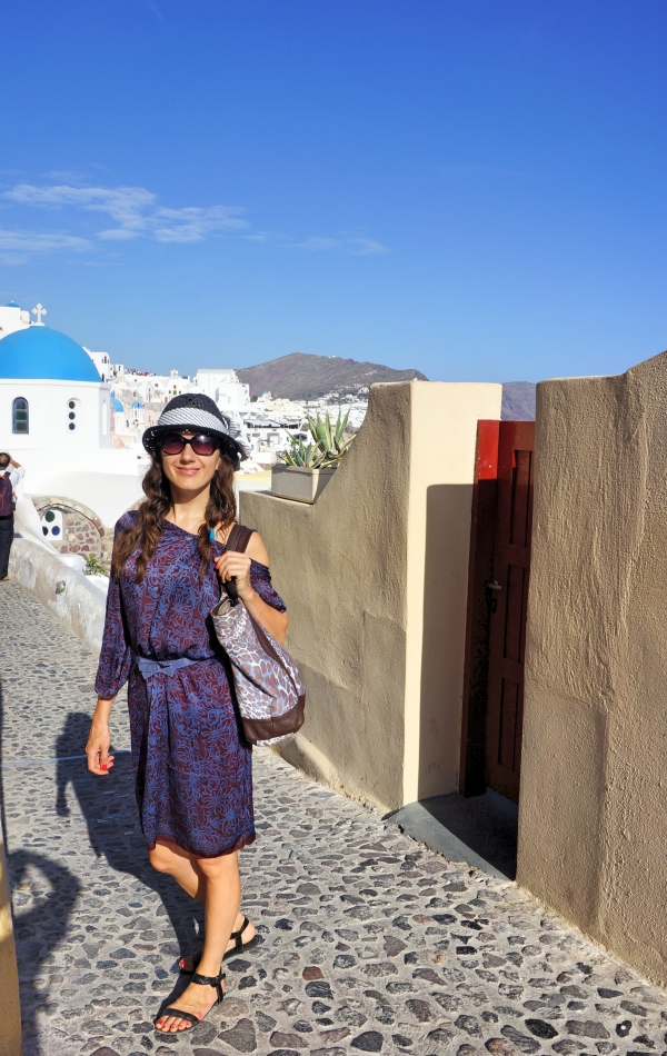 Exploring Santorini in light silk